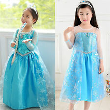 Girl Disney Elsa Frozen Dress Costume Princess Anna Party Halloween Cosplay Xmas