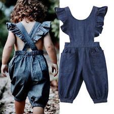 Fashion Toddler Baby Girls Boys Denim Romper Bodysuit Jumpsuit Outfits Clothes r