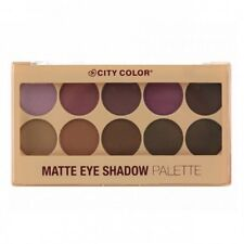 City Color Matte Eye Shadow Palette 10 Color Purple Brown Powder w/ Applicator