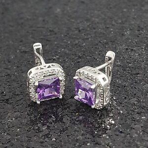 18K White Gold Filled Stylish Italian Amethyst Gemstones 18ct GF Earrings 12mm