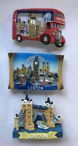 Three London Tower Bridge Big Ben Red Bus 3D Ceramic Fridge Magnet Souvenir Gift