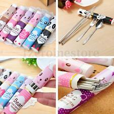 3Pcs Pocket Kids Fork Spoon Stainless Chopstick Box Set Cutlery Travel Outdoor