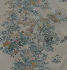 Japanese vintage kimono silk fabric Little Bird and Chrysanthemum
