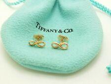 Tiffany & Co Rose Gold 18k Infinity Mini Stud Pierced Earrings Women's Pouch