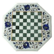 "15"" White marble chess Table Top Lapis Lazuli inlay work flower design Art Work"