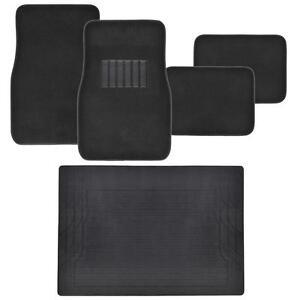 Car Floor Mats 5pc set Carpet Floor Protection w Cargo Trunk Mat - Black