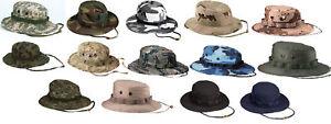 Military Boonie Hat - Camo Camouflage Cotton Wide-Brim Bucket Sun Hat