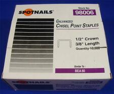 "SpotNails #98006 1/2"" Crown 3/8"" Length Galvanized Chisel Point Staples BEA 80"