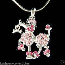w Swarovski Crystal Pink French POODLE DOG Puppy Animal Pet Pendant Necklace New