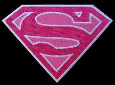Supergirl Superman Pink Shield Logo EMROIDERED IRON ON  PATCH