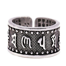 Cool Tibetan Buddhist Amulet Mantra OM Mani Padme Hum Alloy  Ring
