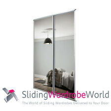 2 x SpacePro Sliding Wardrobe Doors & Tracks - Mirror - White Frame - 120cm wide