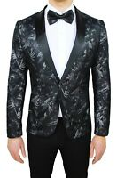 Giacca uomo sartoriale nero floreale raso slim fit damascata elegante cerimonia