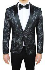 Men's Jacket Sartorial Black Floral Satin Slim Fit Damask Elegant Ceremony