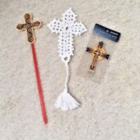 Cross / crucifix bookmarks - Lot of 3; Crocheted, Needlepoint & Stained Glass