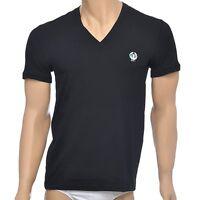 Dolce & Gabbana Sport Crest Deep V-Neck Stretch Cotton T-Shirt, Black