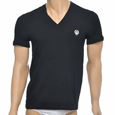 Dolce & Gabbana Underwear Sport Crest Deep V-Neck Stretch Cotton T-Shirt, Black