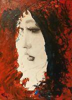 Volto di donna - tela cartonata - tecnica mista:Acrilico + stampa - 18 x 24 cm