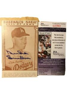 Duke Snider Autograph Signed Dodgers Baseball Great Hall Of Fame 3.5x5.5 Pic JSA