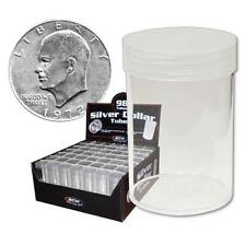5 NEW BCW SILVER DOLLAR CLEAR PLASTIC COIN STORAGE TUBES W/ SCREW ON CAPS