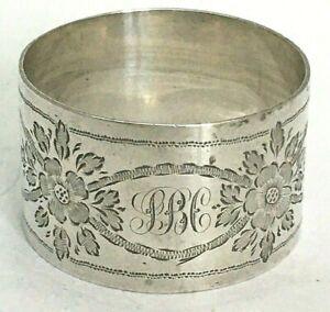 Monogram SBC Edwardian Sterling Silver Napkin Ring 1901