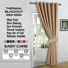 "Thermal Blackout Eyelet Ring Ready Made Door Curtain Beige 66""x84"" Single Panel"