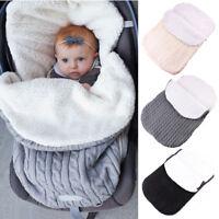 Baby Infant Knit Crochet Swaddle Wrap Fleece Warm Swaddling Blanket Sleeping Bag