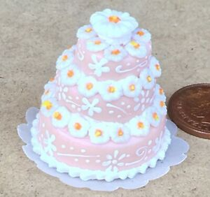 1:12 Scale Orange & White 3 Tier Wedding Cake Tumdee Dolls House Accessory Au3
