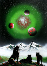 spray paint art space art painting lacquer spray on wood,original/ Indian Spirit