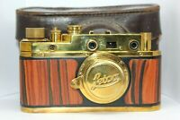 LEICA Gold Rangefinder 35mm Camera Vintage Lens Elmar 50. ( copy FED Zorky )