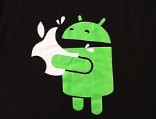 Android Eating an Apple T-shirt M Medium Black Ann Arbor Technology Phones