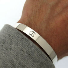 Sterling Silver Medical ID Cuff - Mens Medical Alert Bracelet. Personalized band
