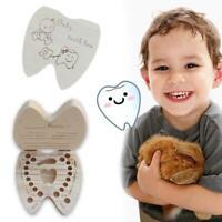 Baby Tooth Box Wooden Milk Teeth Organizer Storage-Boys Souvenir-Case Girls U3G1