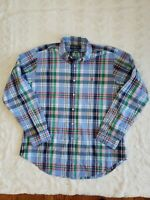Ralph Lauren Men's Button-Front Shirt Size XL Classic Fit Blue green red Plaid