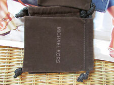"Michael Kors Brown Faux Suede Drawstring Jewelry Bag 4.5"" x 5"" NEW"