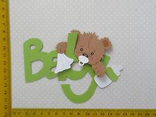 Scrapbooking  Stanzteile Teddy auf Schrift grün