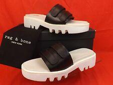 19a351e63de4 Rag   Bone Seldon Black Leather Lug Sole Slide Platform Sandals 8.5