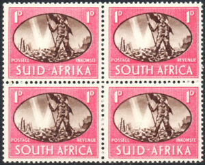South Africa 1945 1d Victory, BARBED WIRE FLAW, SG.108a, UM