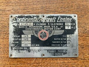 Original Continental C145-2H Data Plate, Check it Out!