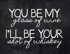 "TIN SIGN ""Wine and Whiskey"" Humor Deco Garage Wall Decor"