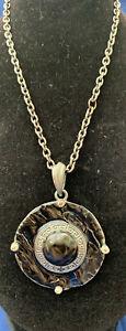 70/80s style Black Enamel Pendant/Necklace costume jewellery