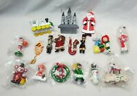 """Mini Wooden Christmas Ornaments Hand Painted (Lot of 18) 1.5"""" - 2"""" from 1980's"""