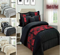 4 Piece Novena Floral Jacquard Duvet Quilt Cover Bed Set Double King Super King