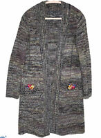 Prana Sabina Wool Blend Duster Floral Patches Cardigan Size Small