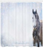 Grey Horse on Winter Landscape in Wilderness Animal Nature Shower Curtain Set