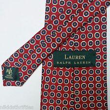 Lauren Ralph Lauren Green Label 100% Silk Neck Tie Red White Blue Yellow