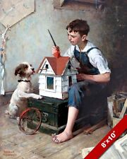 NORMAN ROCKWELL BOY PAINTING A BIRDHOUSE ARTOIL PAINTING PRINT ON CANVAS PRINT