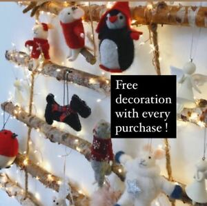 Cute Crafted Felt Hanging Christmas Tree Decorations Mice Reindeer Pigs