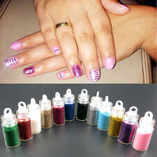 12pcs Glitter Caviar Micro Beads Phosphor Powder Nail Art Decorations Colors Set