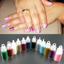 12x Glitter Caviar Micro Beads Phosphor Powder Nail Art Decorations Color Set.